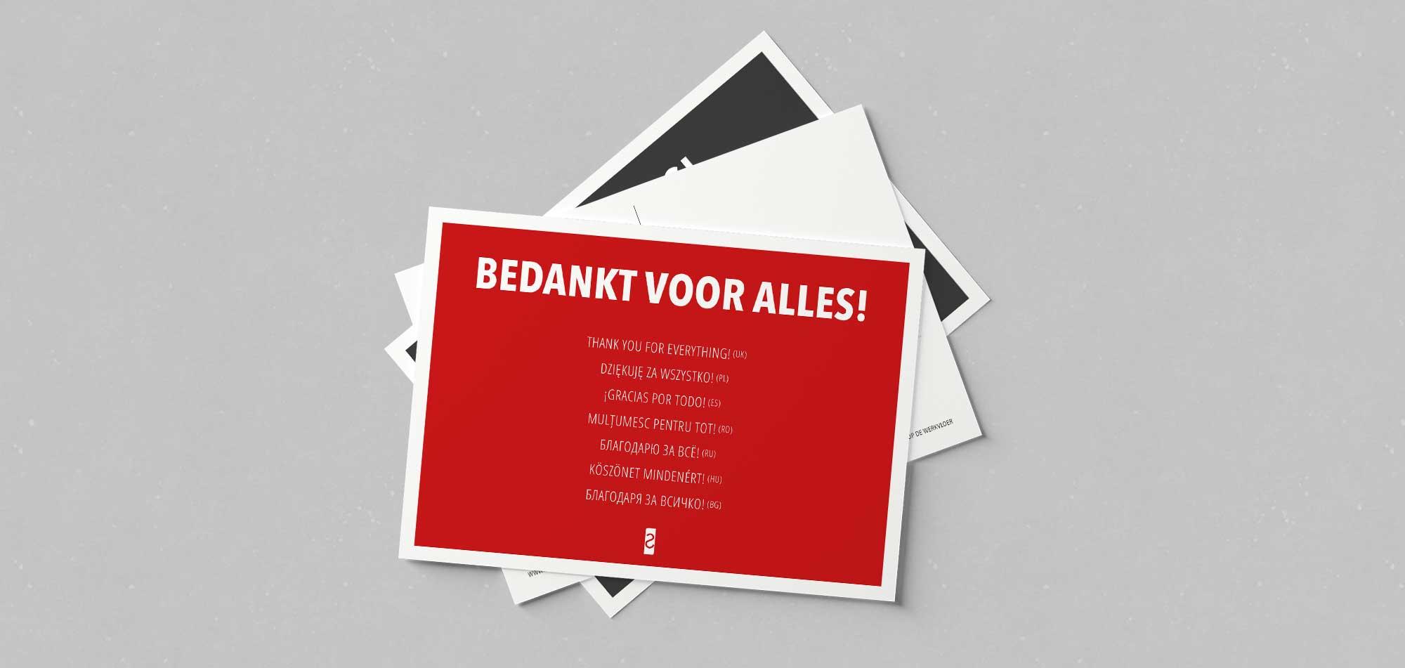 kaarten bedankt in 8 talen